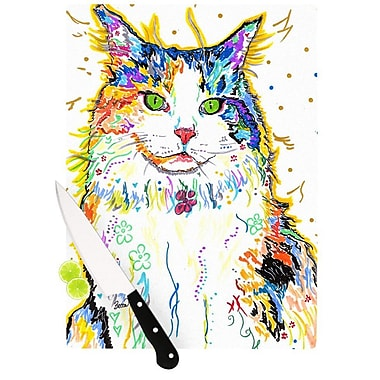 KESS InHouse Royal by Rebecca Fischer Rainbow Cat Cutting Board; 0.5'' H x 11'' W x 7.5'' D