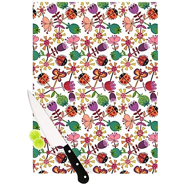 KESS InHouse Garden Floral by Jane Smith Plants Bugs Cutting Board; 0.5'' H x 11'' W x 7.5'' D