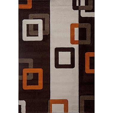 Luxury Home Milano Link Rust Brown/White Area Rug; 6' x 8'