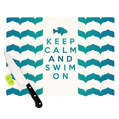 KESS InHouse Keep Calm and Swim On by Nick Atkinson Cutting Board; 0.5'' H x 15.75'' W x 11.5'' D