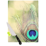 KESS InHouse Sun Kissed by Beth Engel Peacock Feather Cutting Board; 0.5'' H x 15.75'' W x 11.5'' D