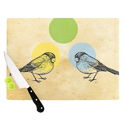 KESS InHouse Green by Sreetama Ray Paper Birds Cutting Board; 0.5'' H x 15.75'' W x 11.5'' D WYF078277492327
