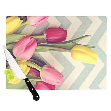 KESS InHouse Tulips and Chevrons by Catherine McDonald Cutting Board; 0.5'' H x 11'' W x 7.5'' D