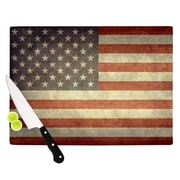 KESS InHouse Flag of US Retro by Bruce Stanfield Rustic Cutting Board; 0.5'' H x 11'' W x 7.5'' D