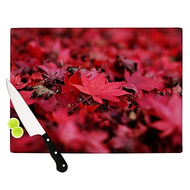KESS InHouse Red Leaves by Angie Turner Leaf Cutting Board; 0.5'' H x 11'' W x 7.5'' D