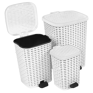 Superior Performance 3 Piece 1.6 Gallon Plastic Step On Trash Can Set; White
