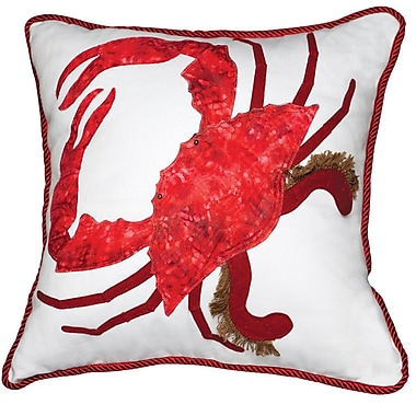 Rightside Design I Sea Life Coastal 3D Applique King of the Chesapeake Crab Throw Pillow