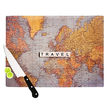 KESS InHouse Travel Map by Sylvia Cook World Cutting Board; 0.5'' H x 15.75'' W x 11.5'' D