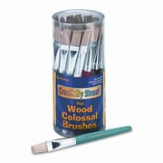 CREATIVITY STREET Flat Natural Bristle Colossal Brushes, Colored Wood Handles, 30 per Container