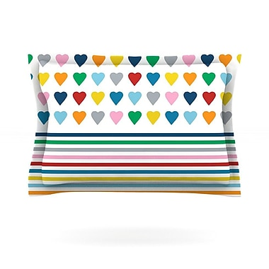 KESS InHouse Heart Stripes by Project M Featherweight Pillow Sham; King