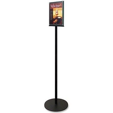 Deflecto Magnetic Sign Stand, Dual Sided, 12-15/16''x12-15/16'',56'', BK