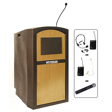 AmpliVox Wireless Pinnacle Full Height Lectern, Black with Maple Panel