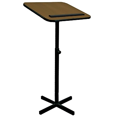 AmpliVox Xpediter Adjustable Lectern Stand without Sound, Medium Oak