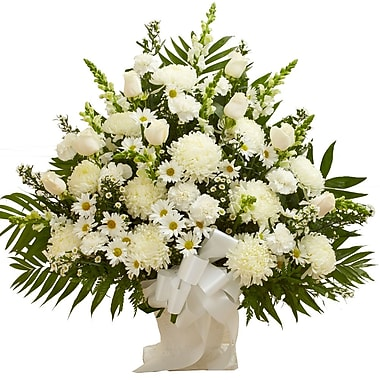 What A Bloom—Arrangement panier Sincères condoléances, blanc