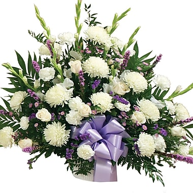 What A Bloom – Arrangement floral pour condoléances, panier, blanc