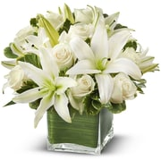 What A Bloom Modern Embrace White Rose and Lily Cube Basket