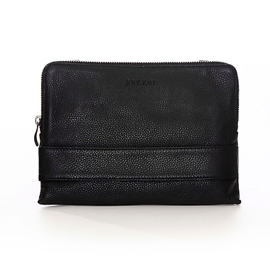 Jill-e Designs Leather Tablet Clutch with Cross Body Shoulder Strap, Black