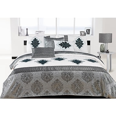 Sandra Venditti Cote D'Ivoire 6-Piece Embroidered Duvet Cover Set, Queen, Silver