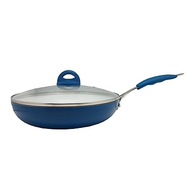 Sandra Venditti Ceramic Frying Pan with Glass Lid, 12