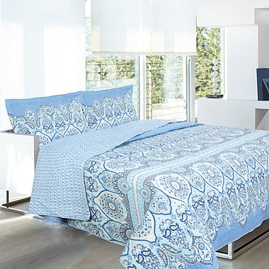 Lauren Taylor L-Janelle 3-Piece Microfiber Quilt Set, Full/Queen, Blue