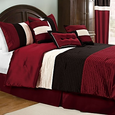 Maison Condelle Malory 7-Piece Comforter Set Faux Dupioni Silk, Queen, Red