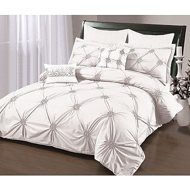 Sandra Venditti Ruched 6-Piece Duvet Cover Set, Full, White