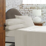 Blanc De Blancs T800 Damask Stripe Sheet Set King, Ivory