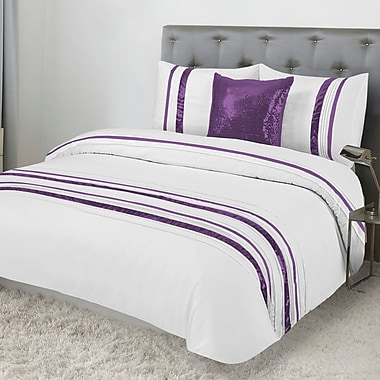 Lauren Taylor Tudisco 4-Piece Duvet Cover Set and Cushion, Queen, Plum