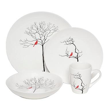 Melange Premium Three Calling Birds Dinnerware 32 Piece Place Setting