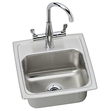 Elkay Lustertone 15'' x 15'' Gourmet Self Rimming Bar Sink w/ Faucet