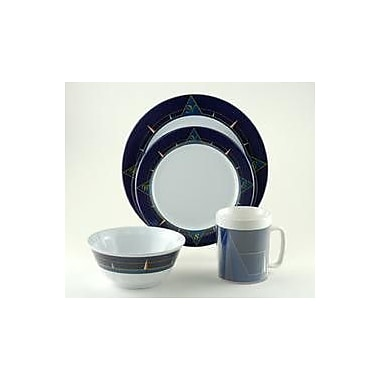 Galleyware Company Decorated Melamine Blue Compass 24 Piece Dinnerware Set, Service for 6
