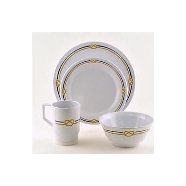 Galleyware Company Decorated Rope Melamine 16 Piece Dinnerware Set, Service for 4