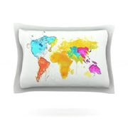 KESS InHouse Oriana Cordero ''World Map'' Rainbow White Featherweight Sham; King