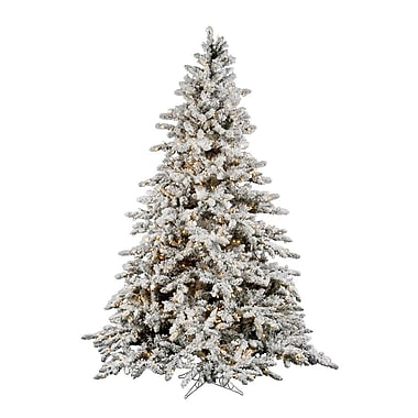 Flocked Utica 4.5' Green Fir Artificial Christmas Tree w/ 250 Dura-Lit Clear Lights w/ Stand