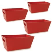 WaldImports Black Paperboard Tote (Set of 4); Red
