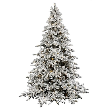 Flocked Utica 10' Green Fir Artificial Christmas Tree w/ 1250 LED Warm White Lights w/ Stand