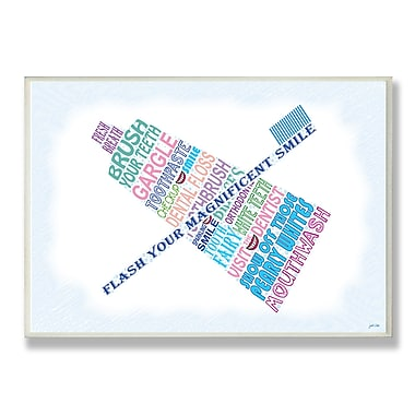 Stupell Industries Flash Your Smile Typography Bathroom Wall Plaque