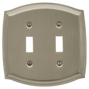 Baldwin Colonial Design Double Toggle Switch Plate; Satin Nickel