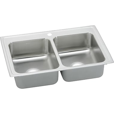Elkay Gourmet 23'' x 17'' Top Mount Kitchen Sink; 2 Holes