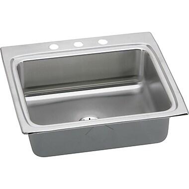 Elkay Lustertone 25'' x 22'' Top Mount Kitchen Sink w/ Drain Assembly; 3 Hole