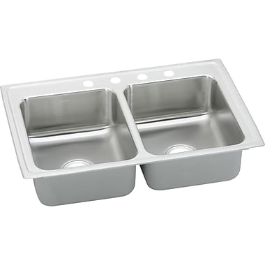 Elkay Lustertone 25'' x 20'' Double Basin Top Mount Kitchen Sink; 3 Holes