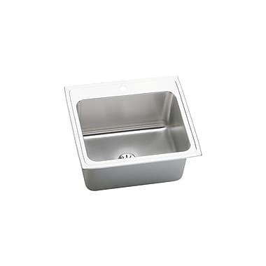 Elkay Lustertone 25'' x 22'' Top Mount Kitchen Sink w/ Drain Assembly; MR2 Hole