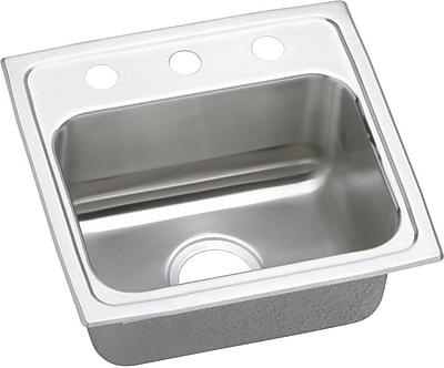 Elkay Lustertone 17'' x 16'' Drop-In Kitchen Sink; MR2 hole