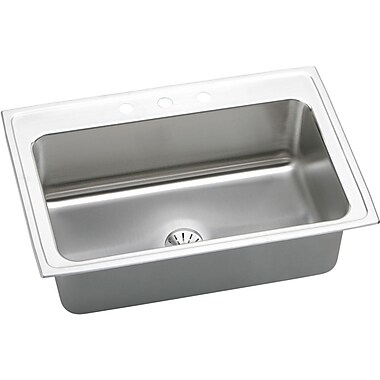 Elkay Gourmet 33'' x 22'' Lustertone Kitchen Sink w/ Perfect Drain; MR2 Hole