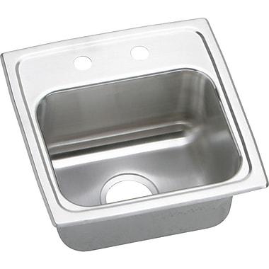 Elkay Lustertone 15'' x 15'' Top Mount Bar Sink; 3 Holes