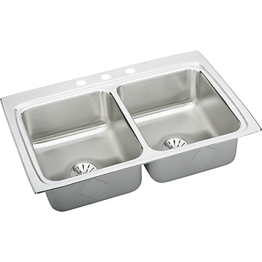 Elkay Gourmet 33'' x 22'' Double Basin Lustertone Kitchen Sink w/ Perfect Drain; No Hole