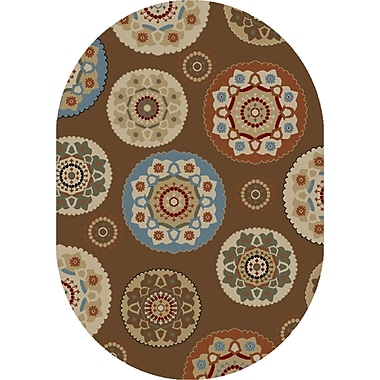 Mayberry Rug Timeless Deco Pinwheel Chocolate Area Rug; Oval 5' x 8'