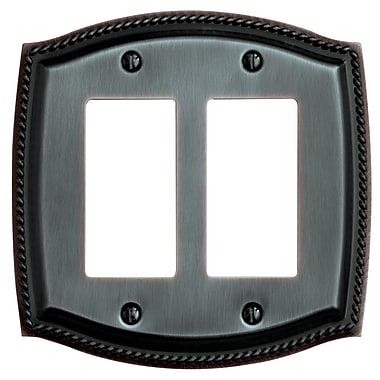 Baldwin Rope Design Double GFCI Switch Plate; Brass