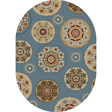 Mayberry Rug Timeless Blue Deco Pinwheel Area Rug; Oval 5' x 8'