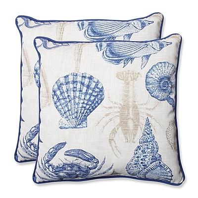 Pillow Perfect Sealife Indoor/Outdoor Throw Pillow (Set of 2); Marine